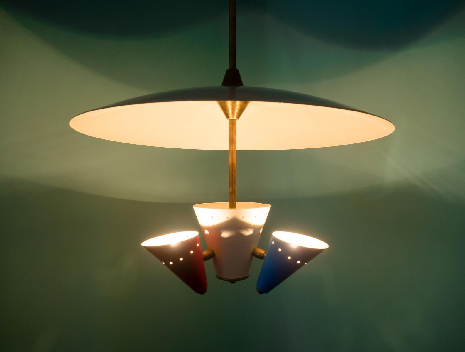 Italian Vintage Multi Color Ceiling Light 1950s Sale