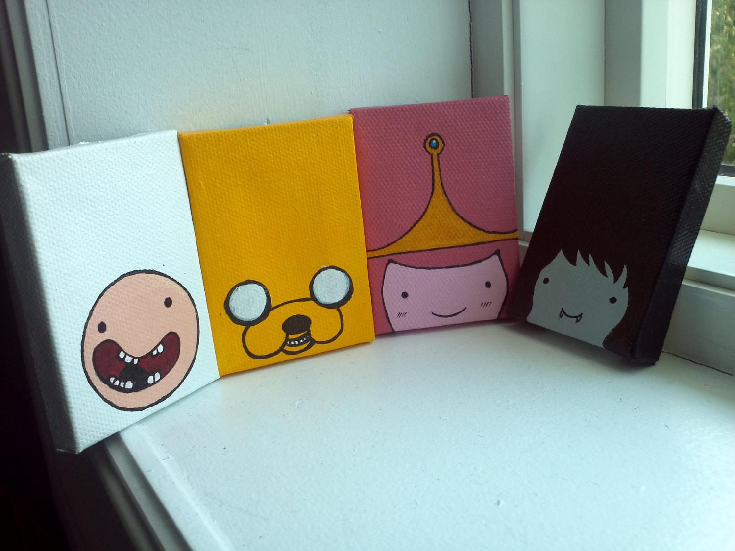 Items Similar Adventure Time Painted Magnets Etsy