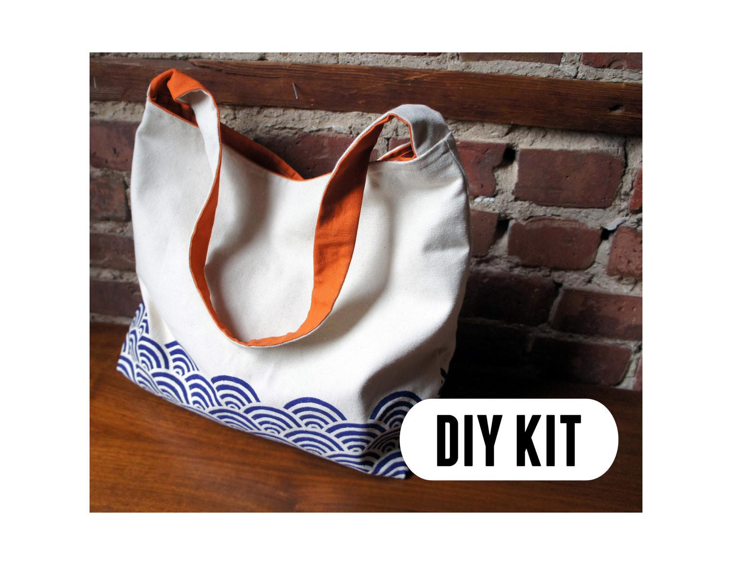 Items Similar Diy Kit Stylish Canvas Tote Bag Etsy