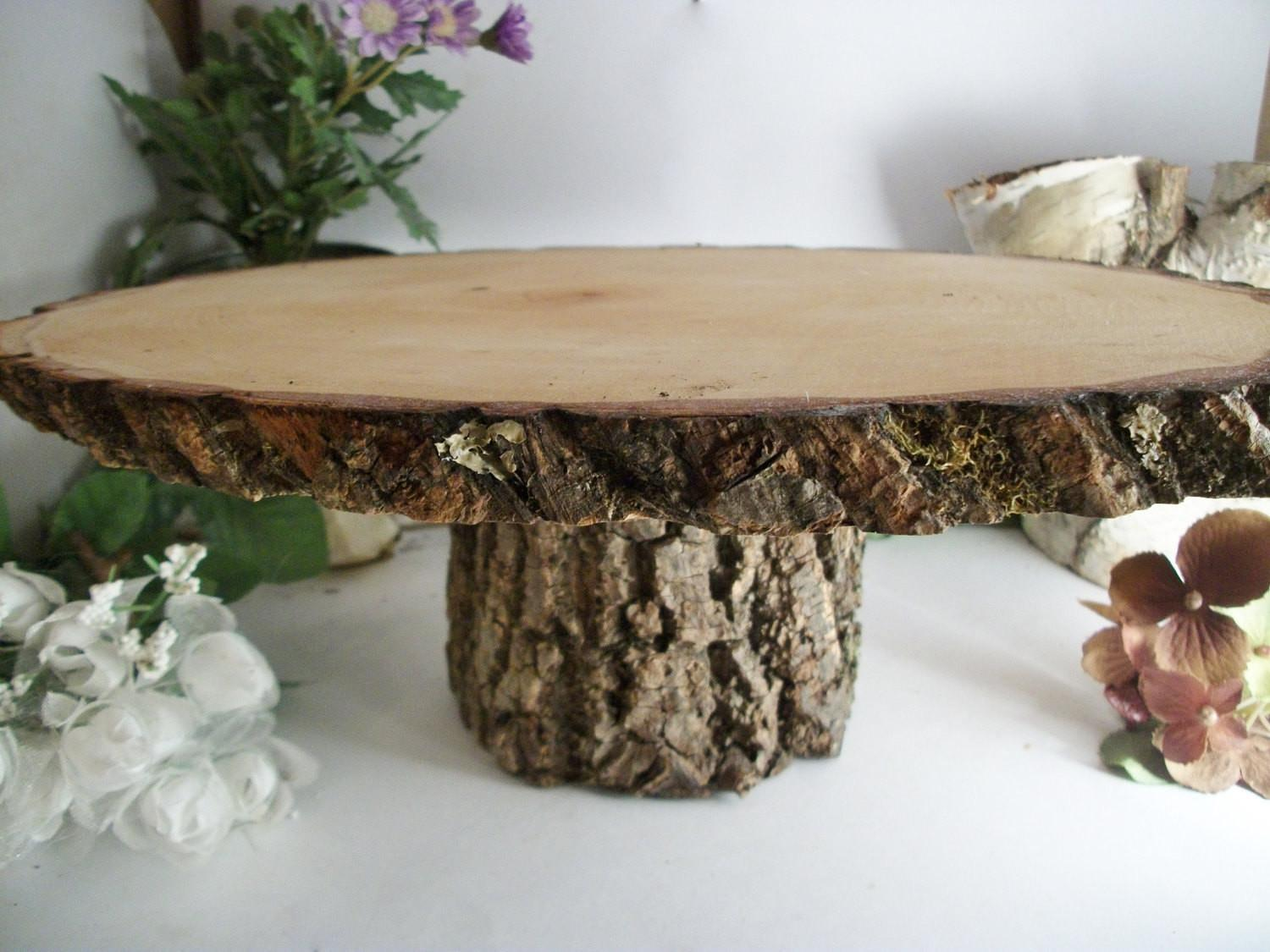 Items Similar Small Rustic Oval Cake Stand Wood