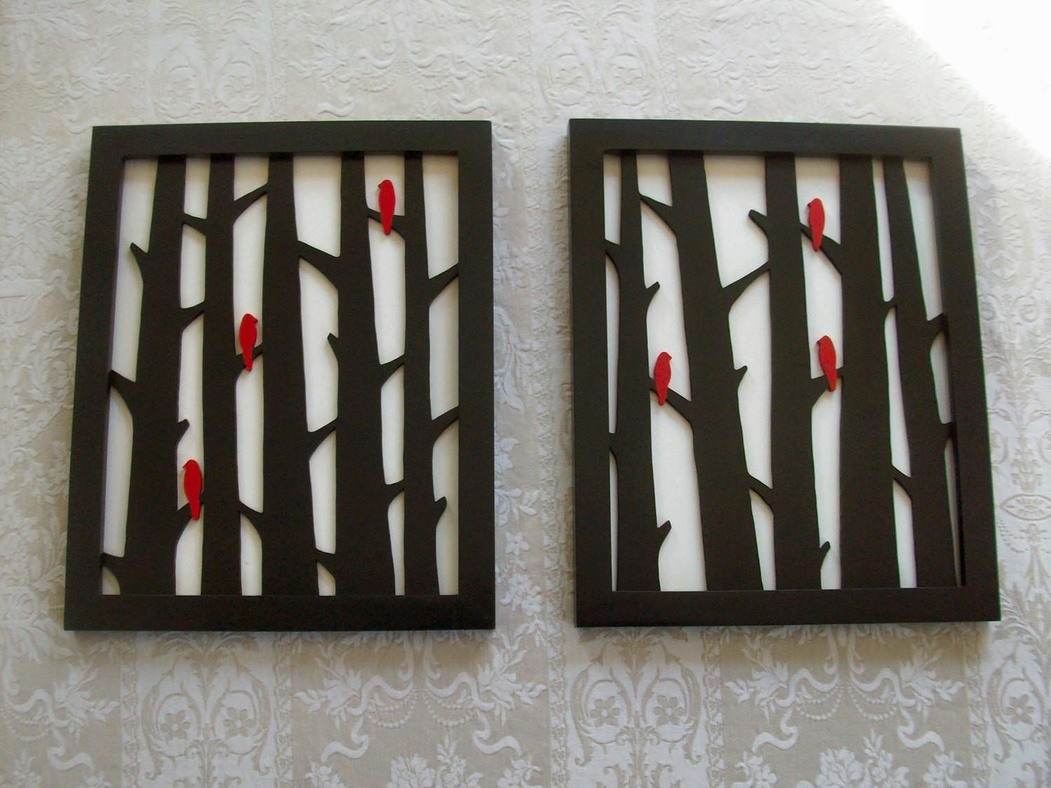 Items Similar Wood Wall Decor Two Piece Birds Trees
