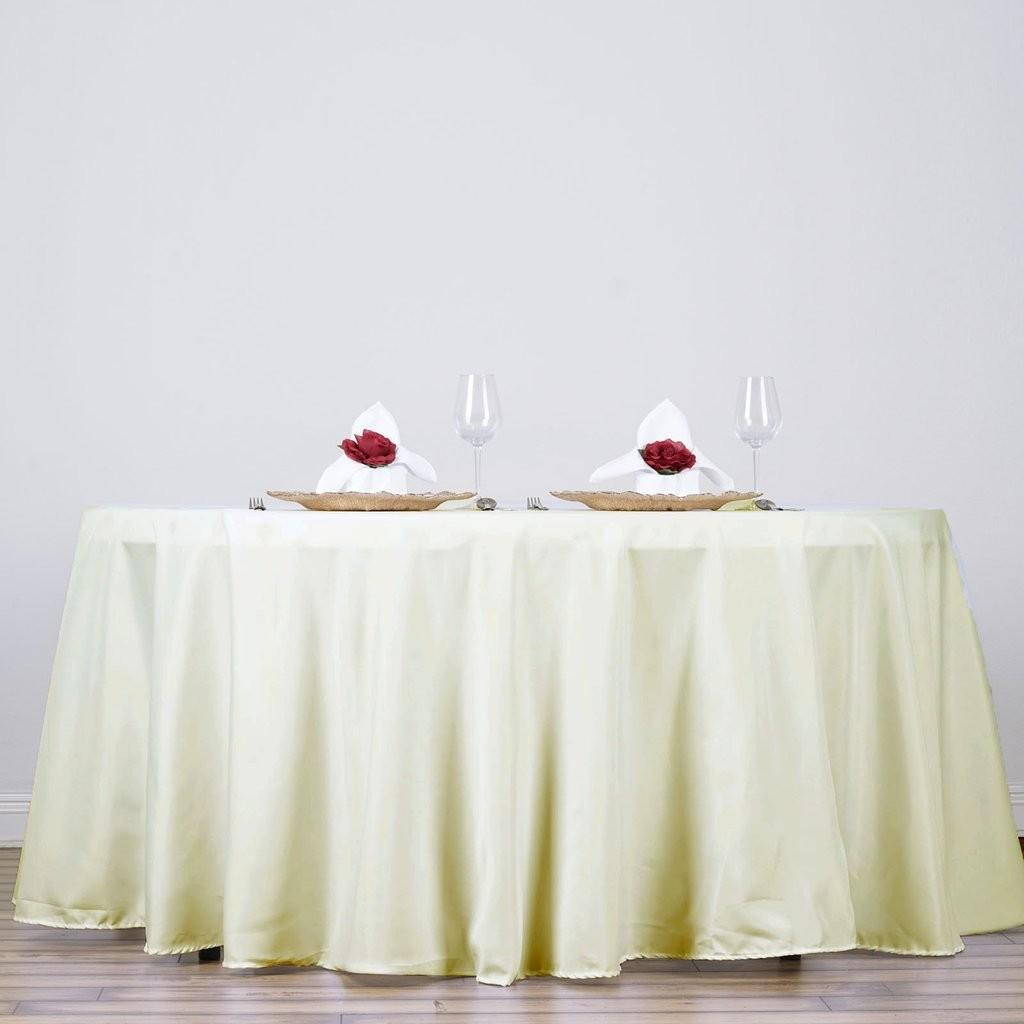 Ivory 132 Round Polyester Tablecloth Efavormart