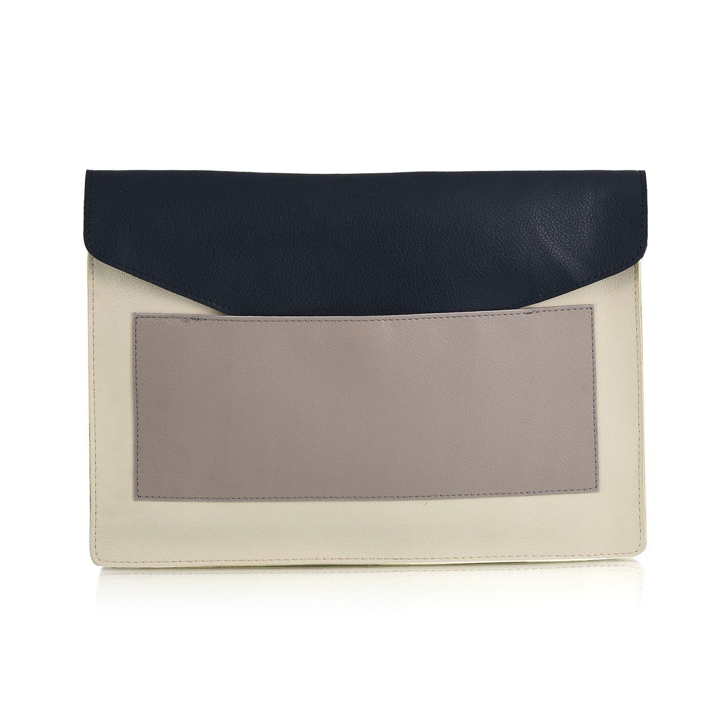 Ivory Navy Blue Genuine Leather Envelope Clutch