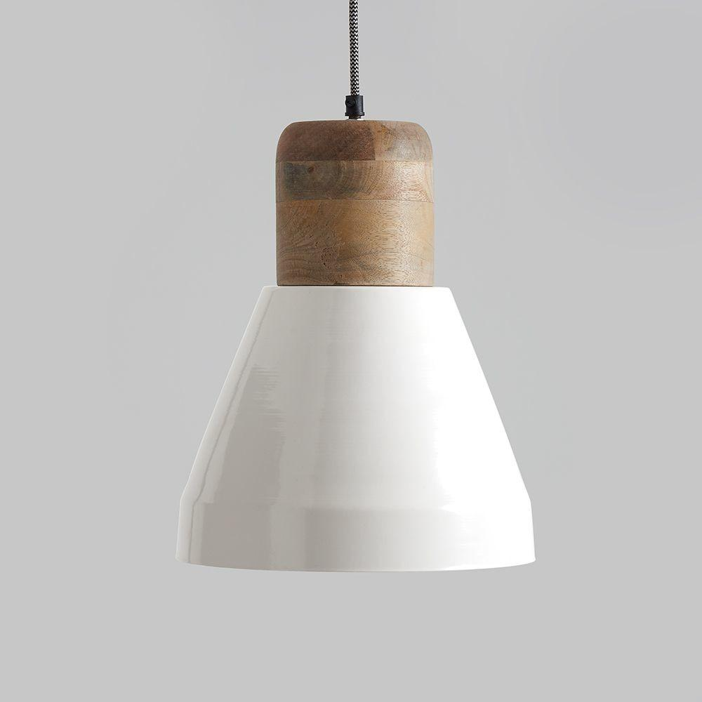Izzy White Natural Wood Pendant Light