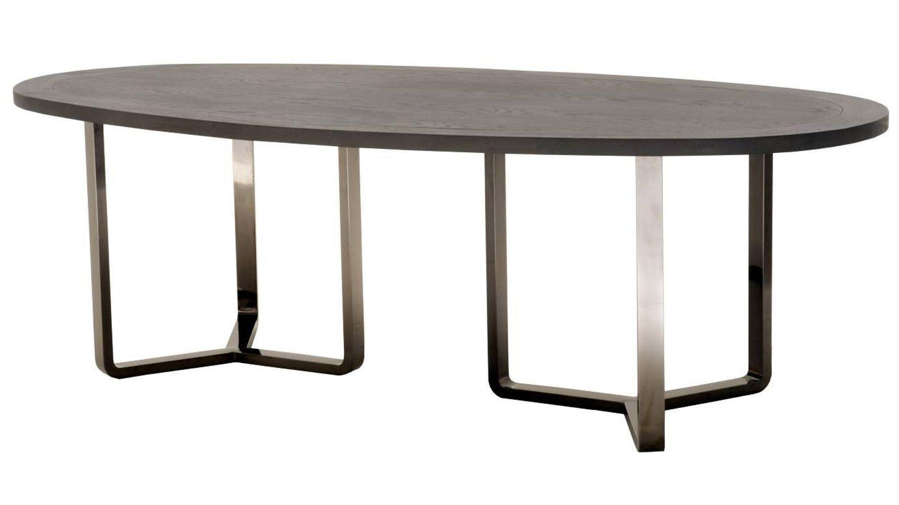 Jaffa Oval Oak Dining Table Stainless Steel Base