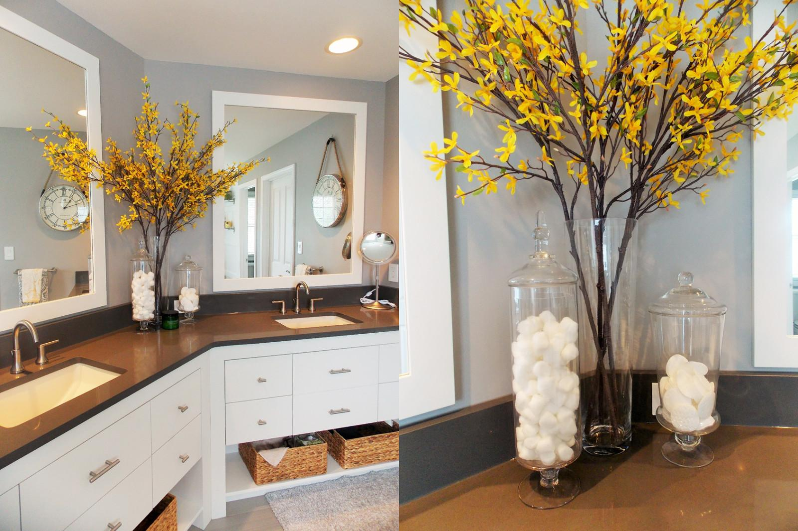 Jessica Stout Design Yellow Gray Modern Master Bath