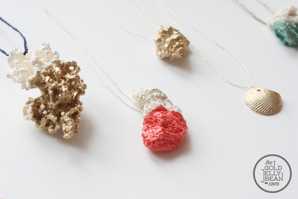 Jewelry Diy Paint Dipped Coral Gold Shells
