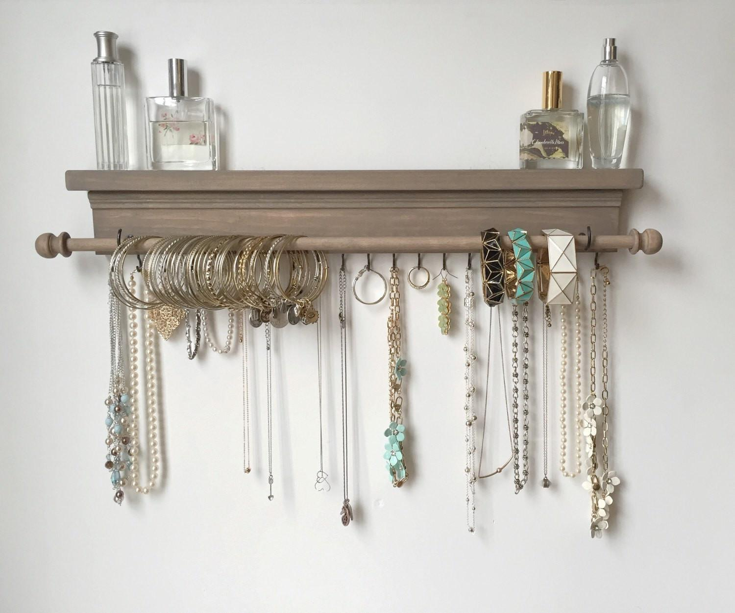 Jewelry Organizer Hanging Shelf Timberridgeshop