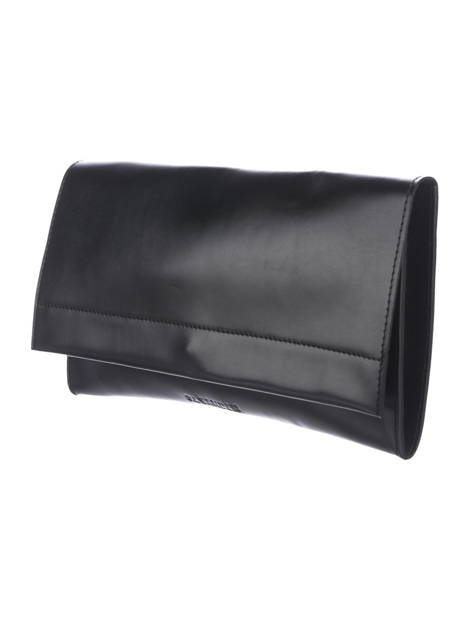 Jil Sander Leather Flap Clutch Handbags Jil