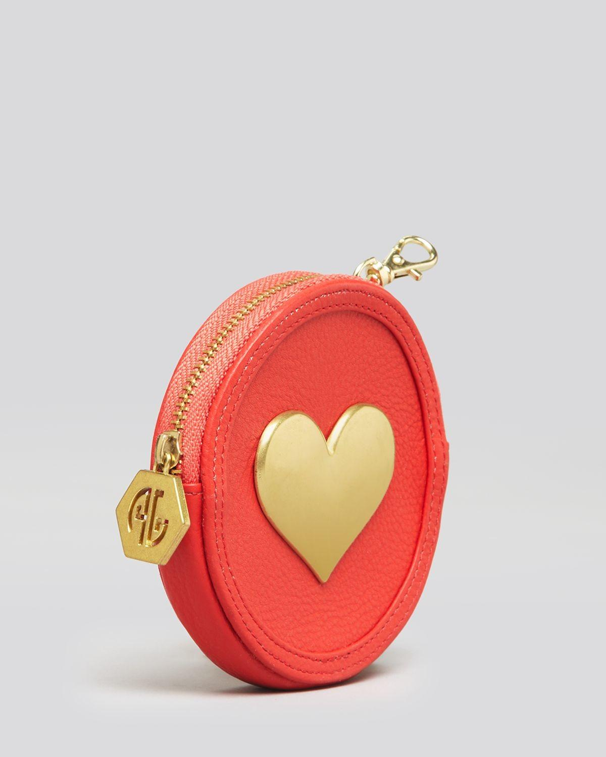 Jonathan Adler Coin Purse Heart Leather Circle White Lyst