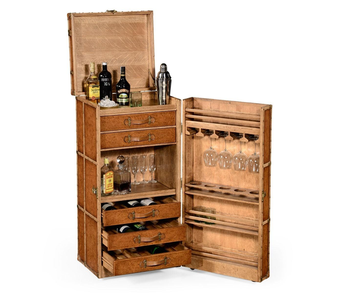 Jonathan Charles Travel Trunk Style Wine Cocktail