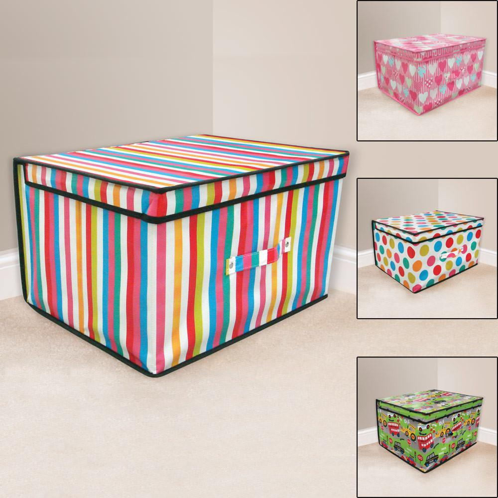 Jumbo Rectangular Storage Box Kids Room Toy Tidy Lid