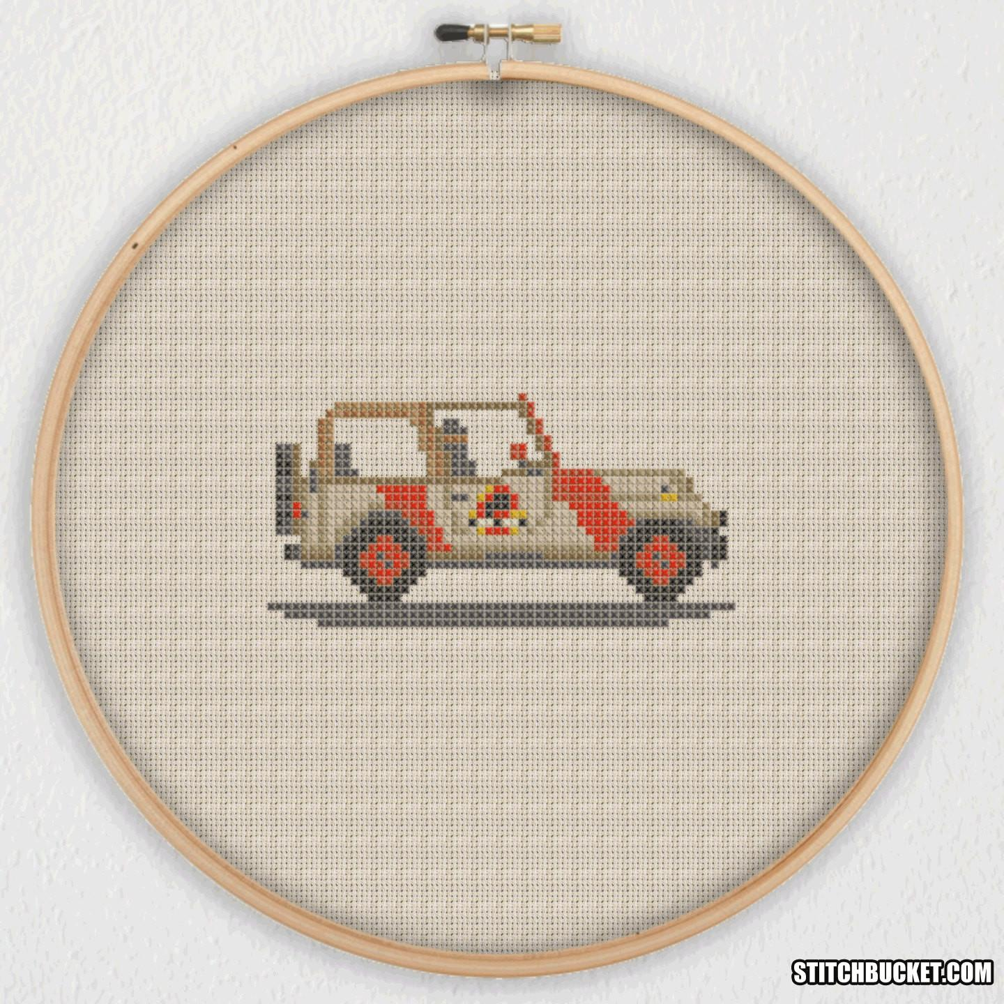 Jurassic Park Jeep Cross Stitch Pattern Instant Pdf