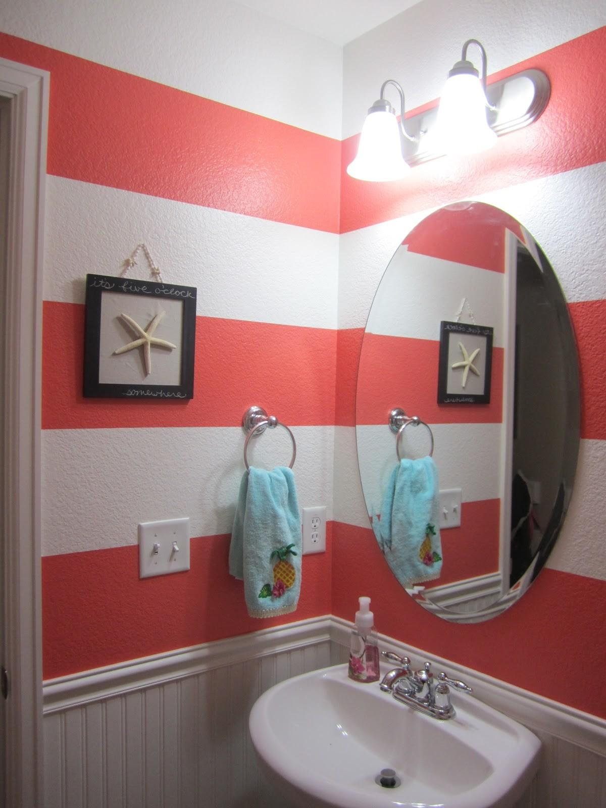 Just Another Day Paradise Coral Striped Bathroom