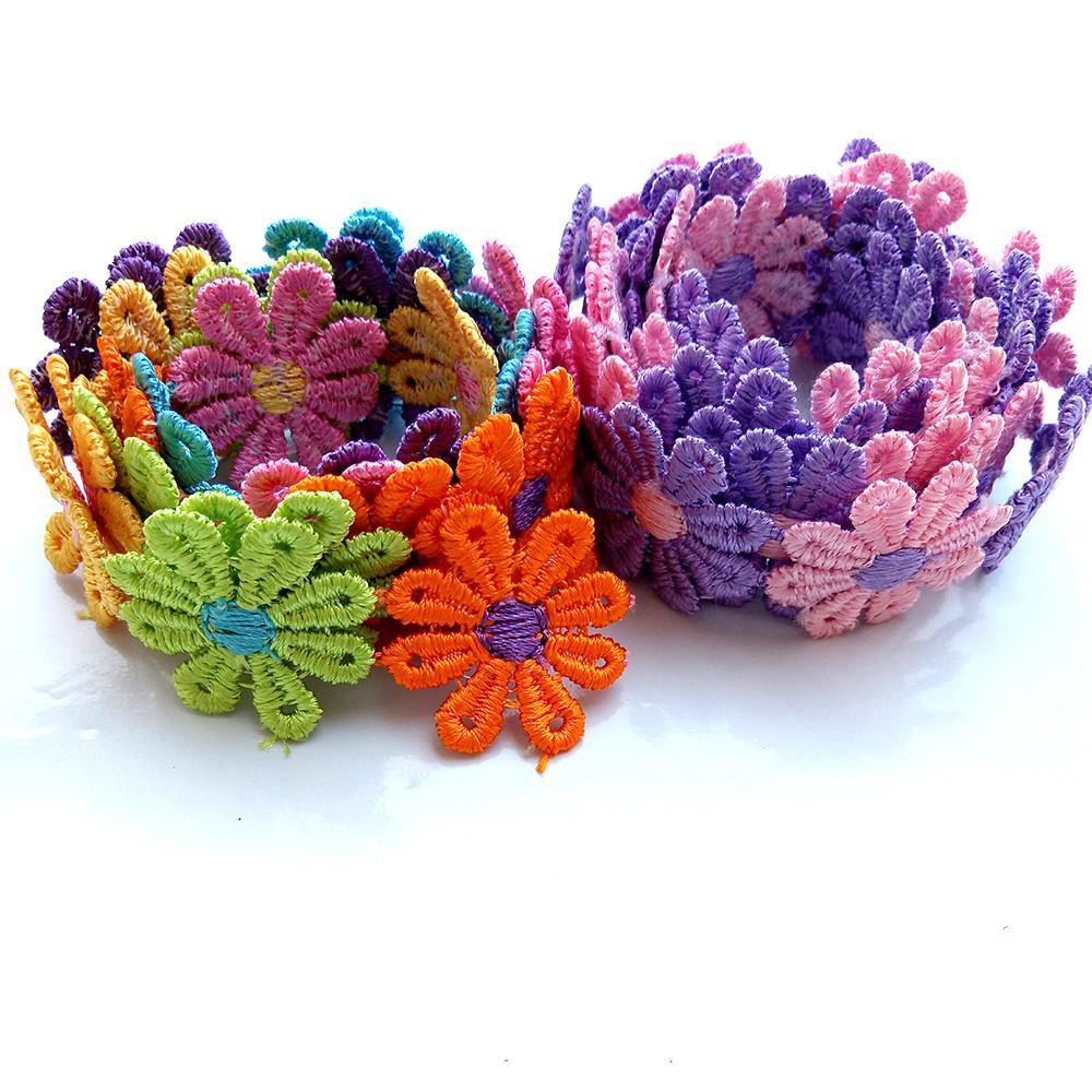 K Colorful Daisy Flower Lace Trim Knitting Wedding