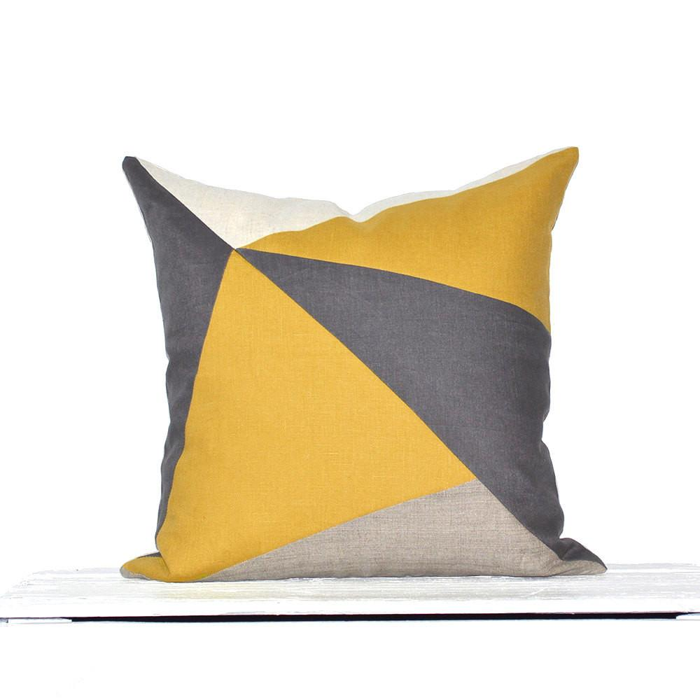 Kaleidoscope Modern Colorblock Pillow Cover Mustard Grey