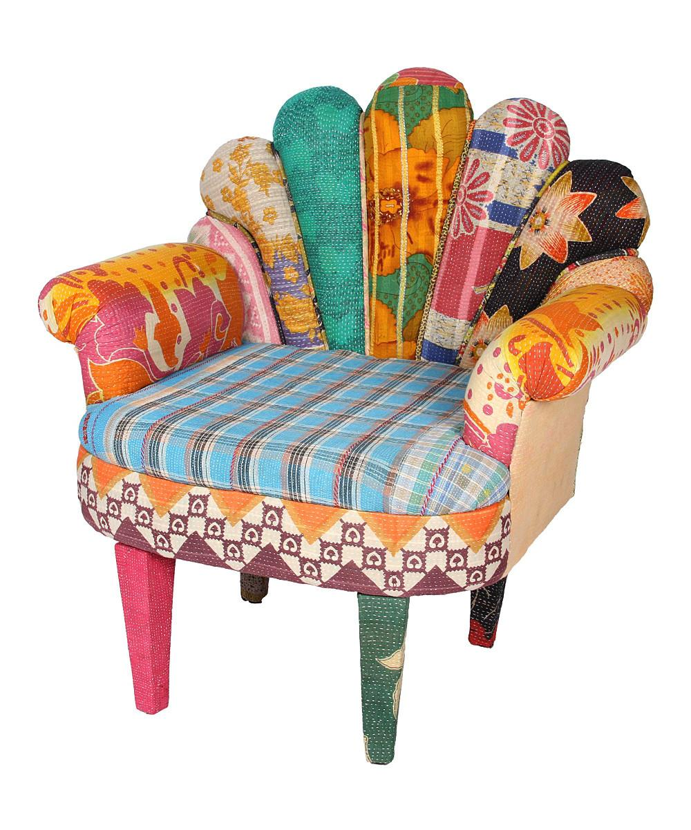 Karma Living Sky Blue Patchwork Peacock Chair Zulily