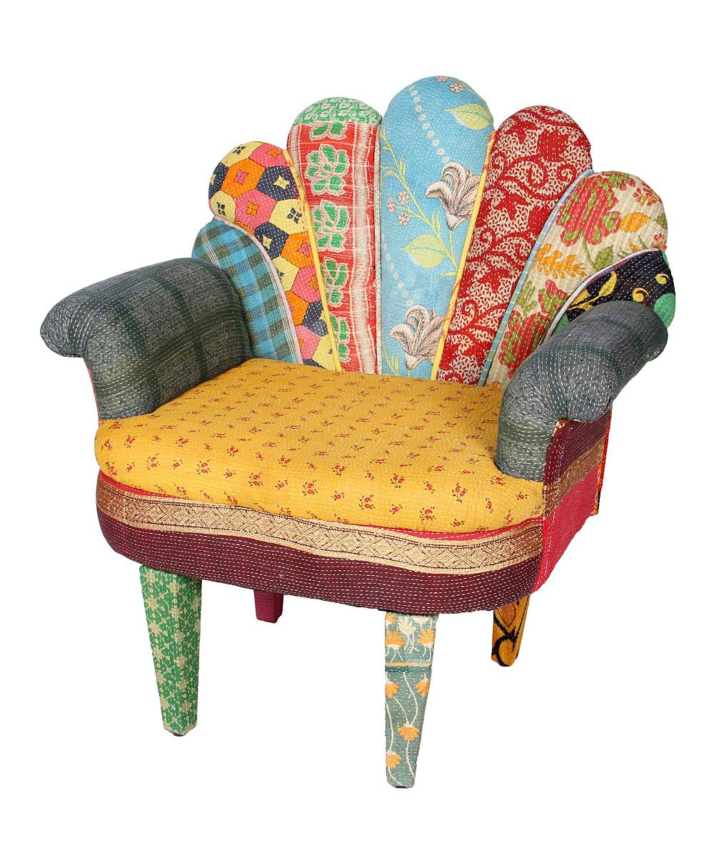 Karma Living Yellow Patchwork Peacock Chair Zulily