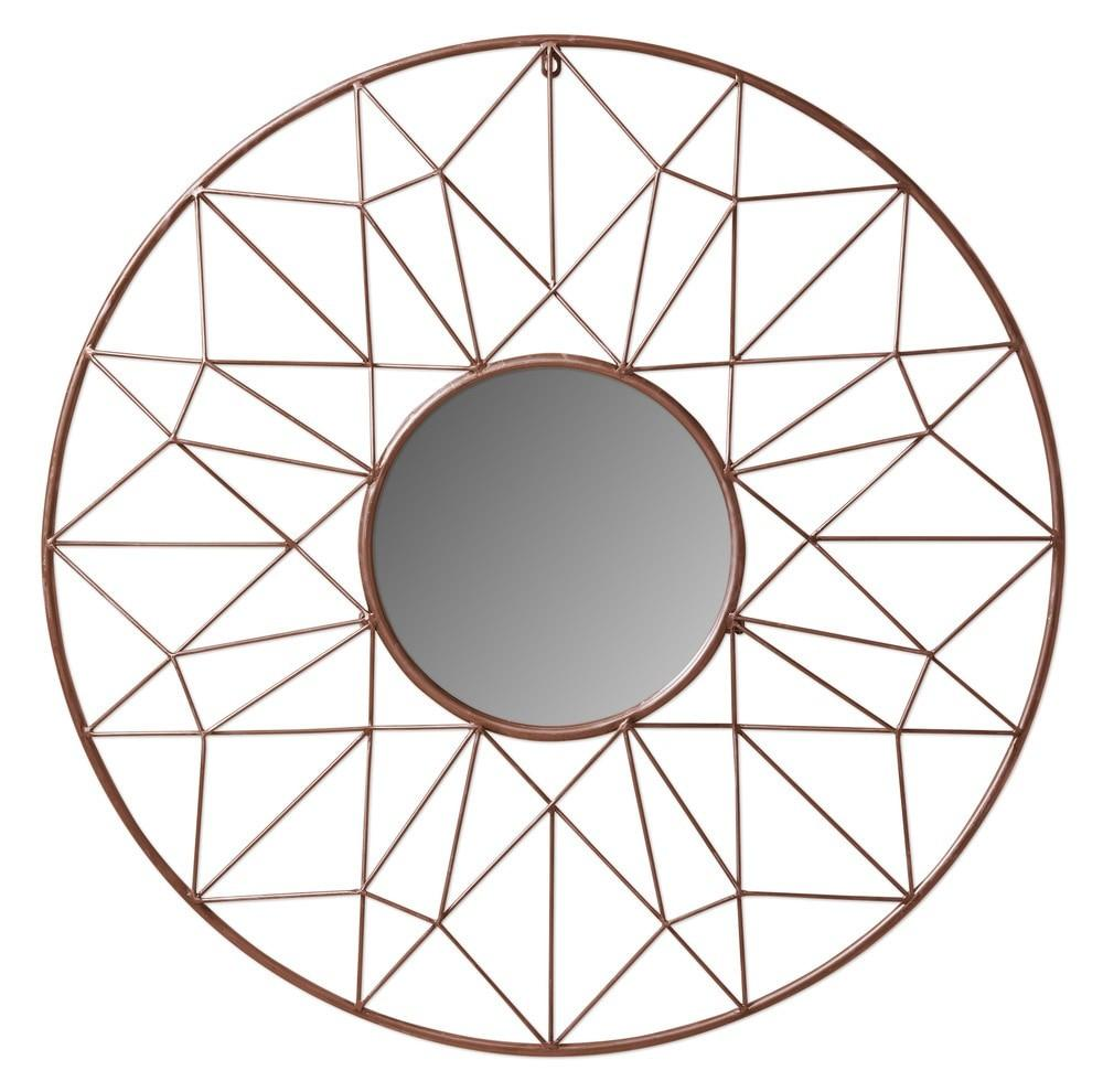 Kate Laurel Geometric Metal Round Accent Mirror Wall