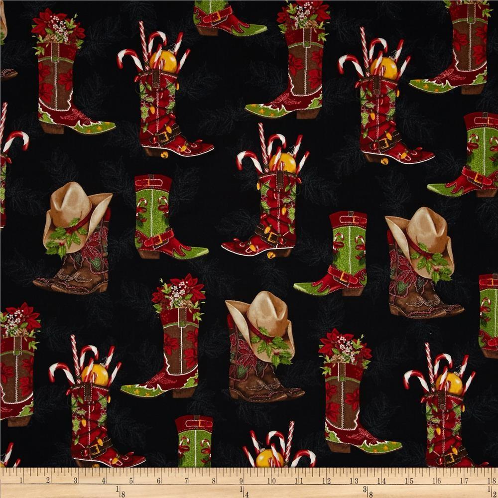 Kaufman Holly Jolly Christmas Cowboy Boots Black
