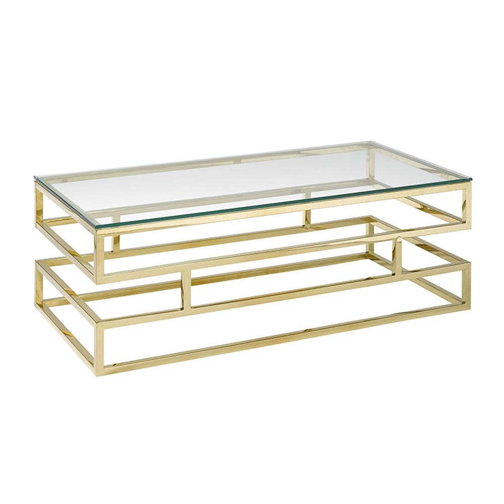 Keaten Glass Top Gold Coffee Table Xcella