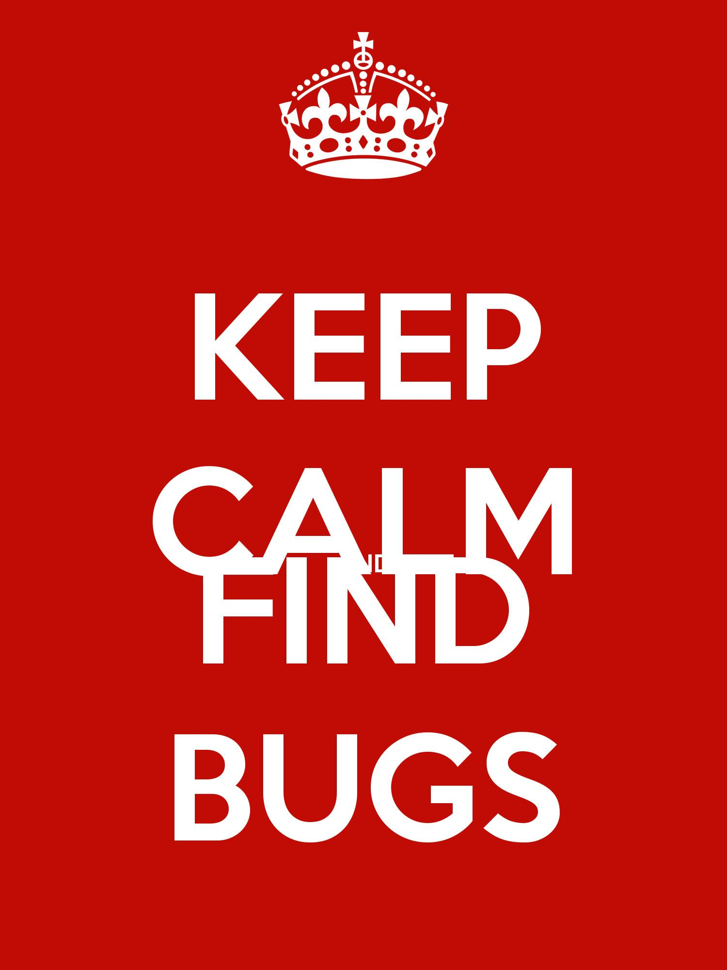 Keep Calm Find Bugs Poster Levi Matic
