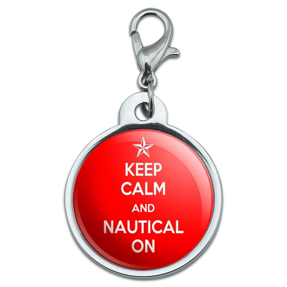 Keep Calm Nautical Sailing Small Metal Pet Dog