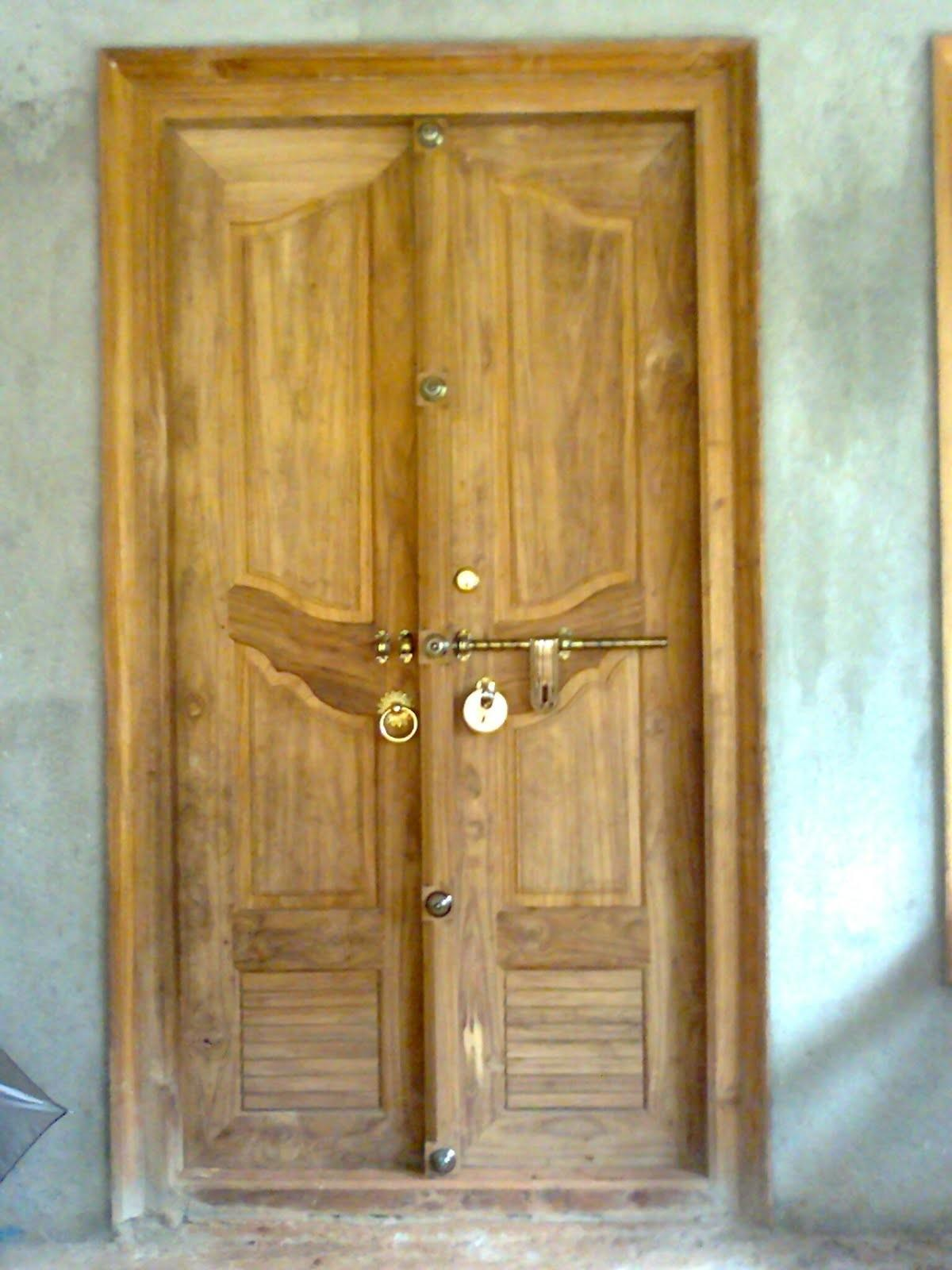 Kerala Style Wooden Front Door Double Designs Bavas