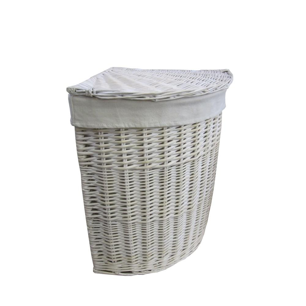 Keswick White Wash Corner Wicker Laundry Basket