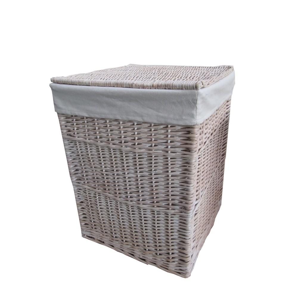 Keswick White Wash Square Wicker Laundry Basket
