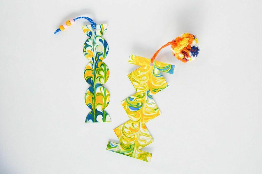 Kid Friendly Diy Project Marbled Bookmarks Lonny