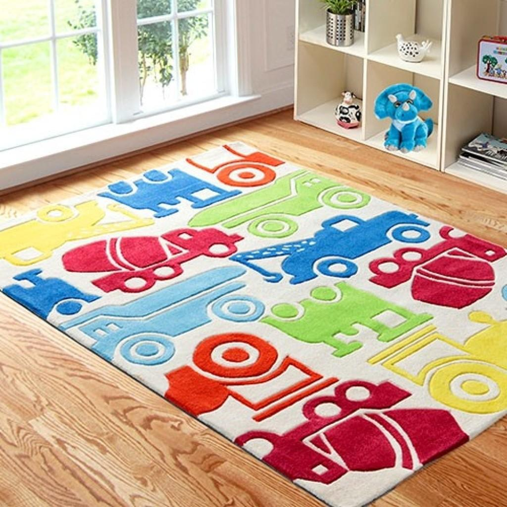 Kids Area Rug Colorful Cars Boys Playroom All
