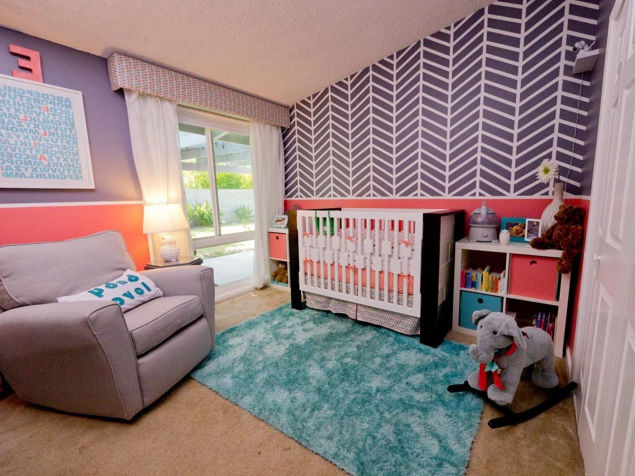 Kids Bedroom Accent Wall Pink White Painted