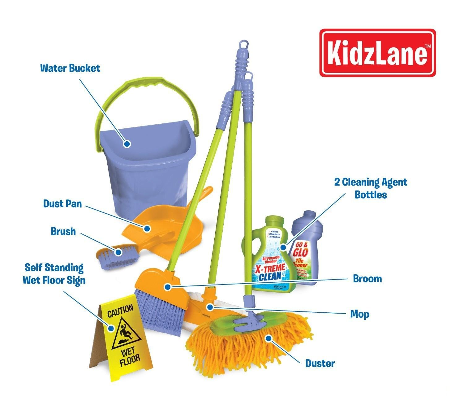 Kids Cleaning Toy Set Pretend Play Broom