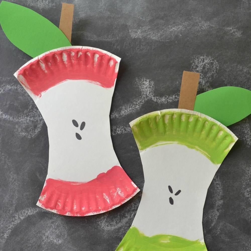 Kids Craft Project Paper Plate Apple Core Blitsy