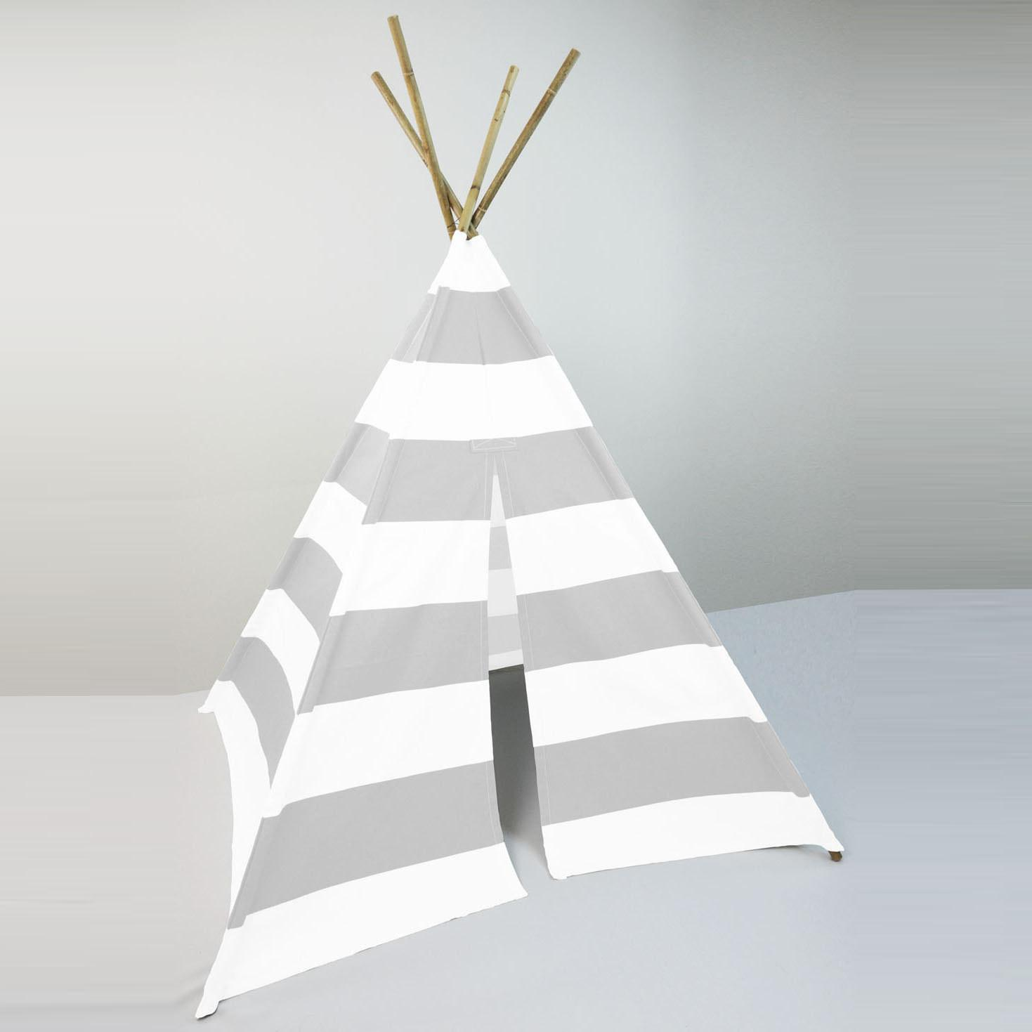 Kids Play Tent Teepee French Gray White Large