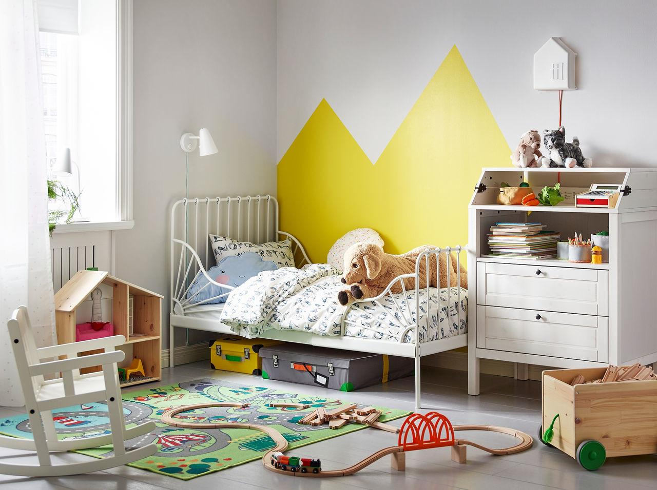 Kids Room Grey Color White Line Pattern Beautiful