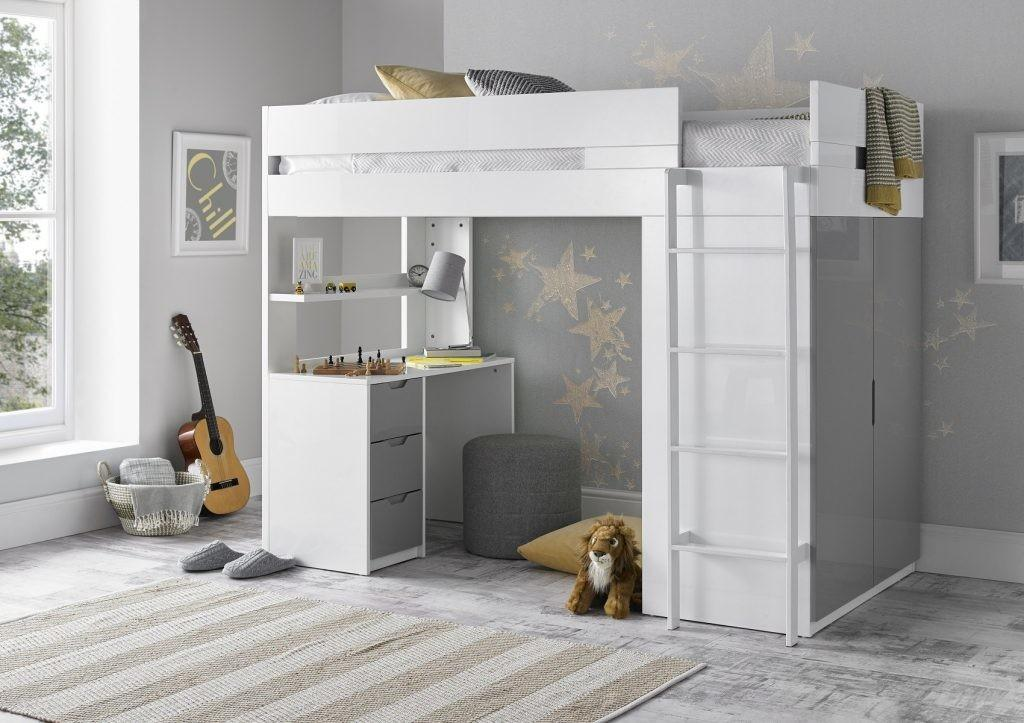 Kids Room Stylish Classic Cabin Bed White Color Storage