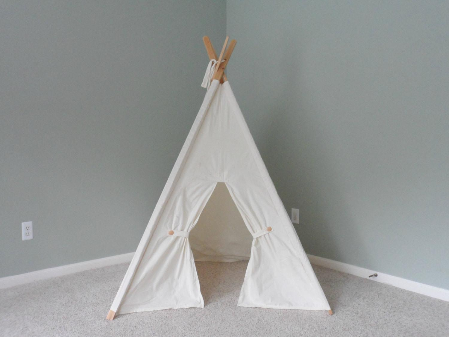 Kids Teepee Play Tent Fort Natural Cotton Childrens