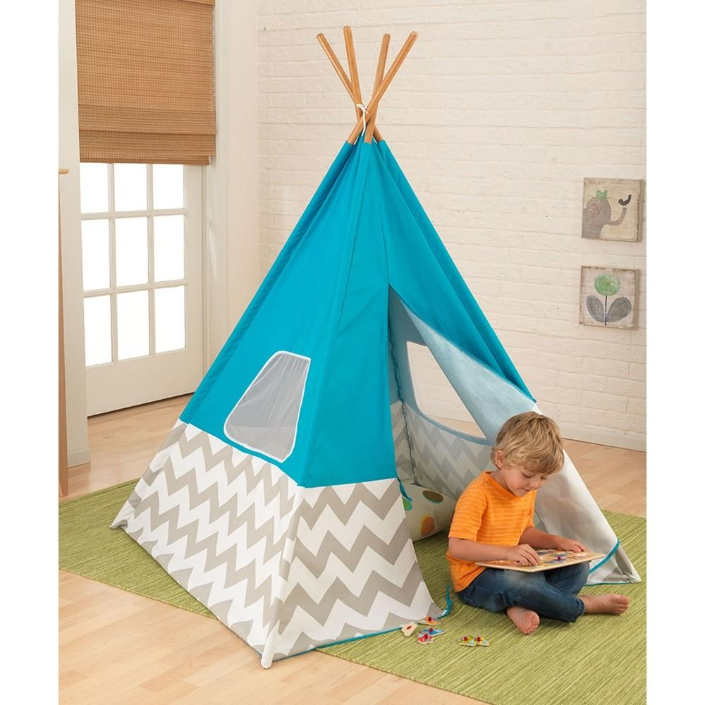 Kids Teepee Play Tent Turquoise Grey White