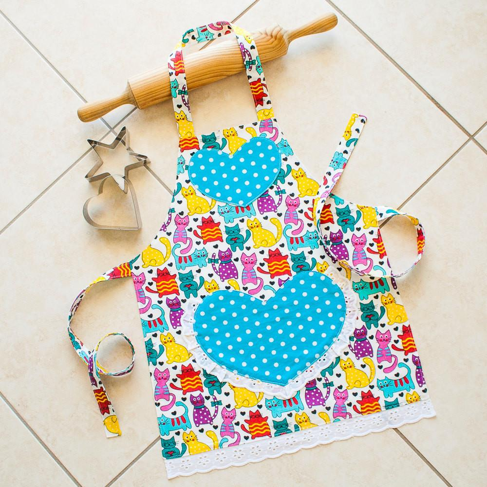 Kids Toddlers Apron Cats Girl Kitchen Craft Art Play