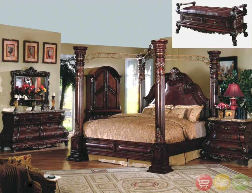 King Cherry Poster Luxury Canopy Bed Leather Headboard
