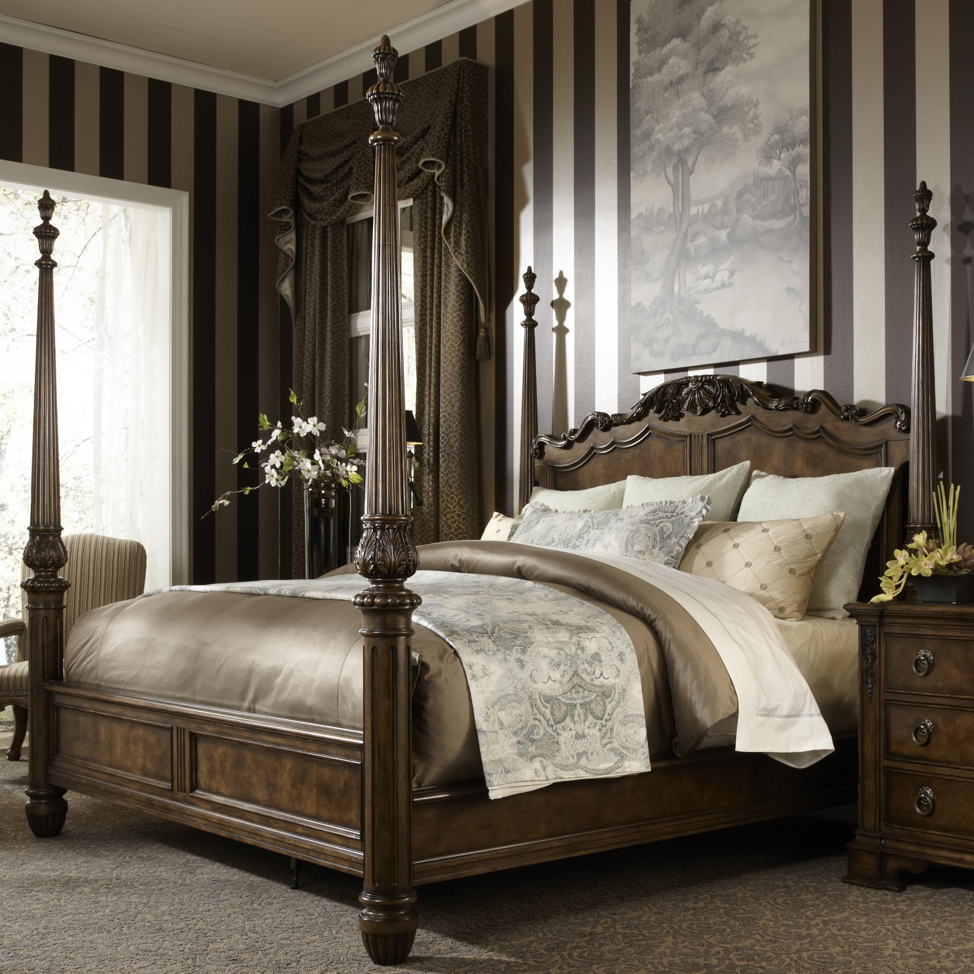 King Traditional Antique Style Four Poster Bed Fine