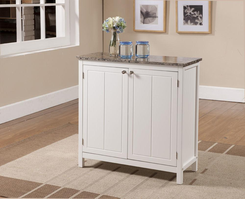 Kings Brand White Marble Finish Top Kitchen Island