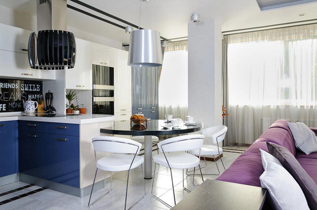 Kitchen Blue Cupboards Dining Space Apartment