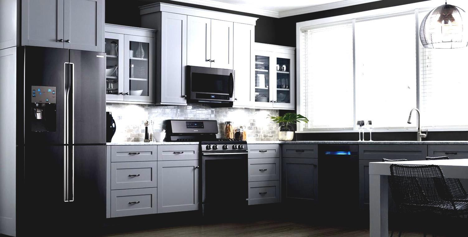Kitchen Cabinets Black Appliances White Painting Paint ...