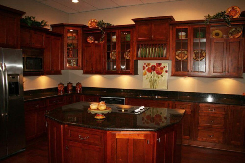 Kitchen Cherry Cabinets Brown Oak Wooden