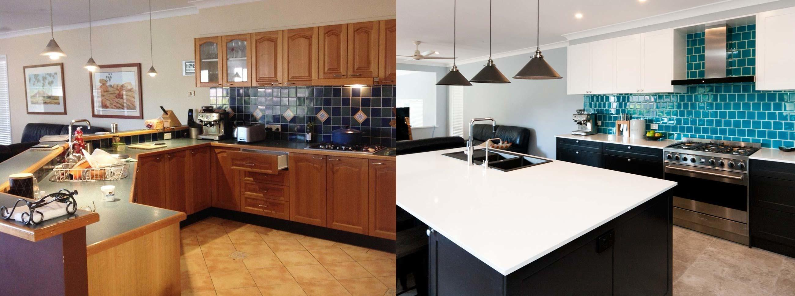 Kitchen Design Before After Renovation Black White