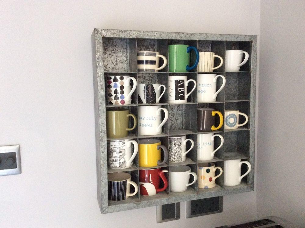 Kitchen Display Shelf Cubed Wall Mounted Galvanised