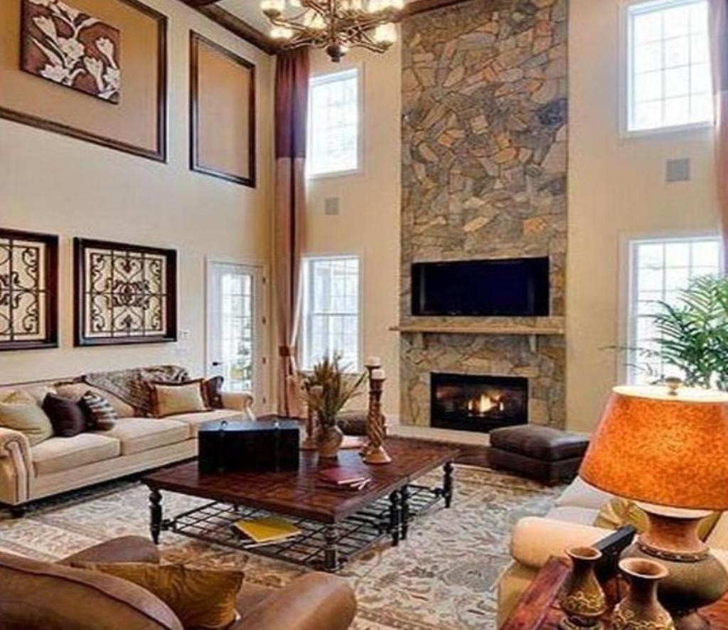 Kitchen Family Room Coffee Table Ideas Stone Fireplace